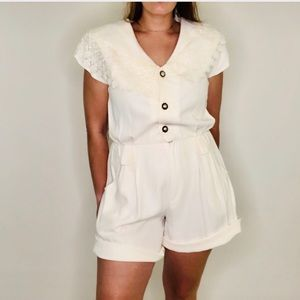 NWT Vintage Lace Collared Playsuit Romper Playsuit